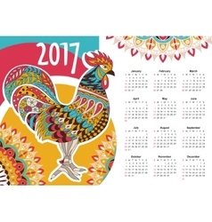 Calendar 2017 Colorful rooster vector