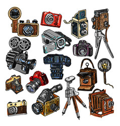 camera doodle sketch icons set vector image