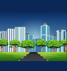 cartoon a city scene with road to downtown vector image