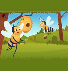 cartoon bee background flying flowers yellow vector image