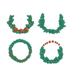 Christmas wreath set vector image