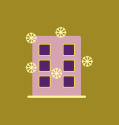 City building with snowflakes vector