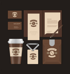 coffee shop logo design template and corporate vector image