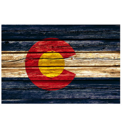 colorado co state flag on old rustic timber wall vector image
