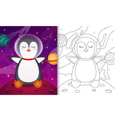Coloring book for kids with a cute penguin vector