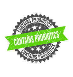 Contains probiotics grunge stamp with green band vector