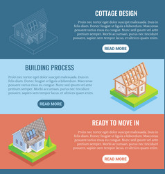 Cottage construction flat isometric vector