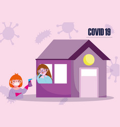 Covid 19 coronavirus boy with mask glove and vector