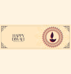 Creative happy diwali festival banner in indian vector