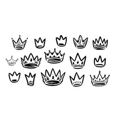 crown icons set royal premium symbol vector image