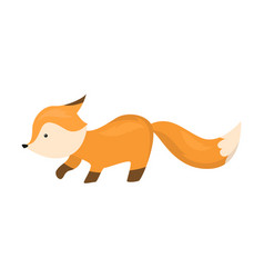 Cute fox is sneaking isolated vector