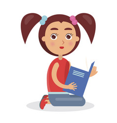 Cute girl looking and holding blue schoolbook vector