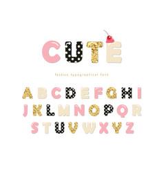Cute girly font pastel pink polka dot vector