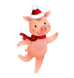 cute pig and santa hat symbol of the year in the vector image