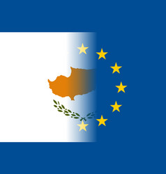 Cyprus national flag with a circle of eu vector