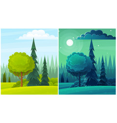 day and night countryside landscape with moon vector image