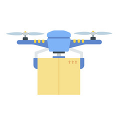 Delivery a large package drone icon flat vector