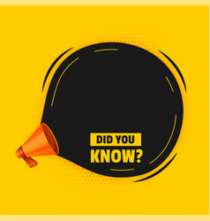 did you know background with megaphone and text vector image