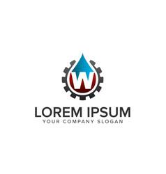 drop water with gear logo oil gas logo vector image