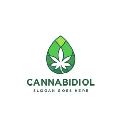 droplet cannabidiol cannabis cbd logo icon vector image