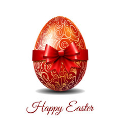 Easter card with red easter egg tied of red ribbon vector