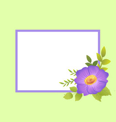 Empty frame decorated by purple viola flower bud vector