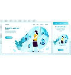 eps creative work freelance girl set vector image
