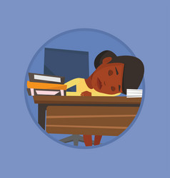female student sleeping at the desk with book vector image