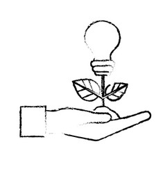 Figure hand with energy bulb plant with leaves and vector