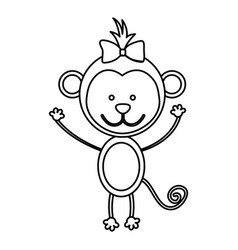 Figure teddy monkey bow head vector