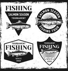 fishing tournament set four emblems vector image
