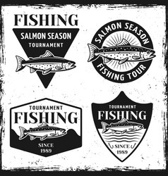 Fishing tournament set of four emblems vector