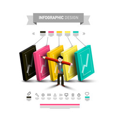 five steps infographic layout with icons and man vector image