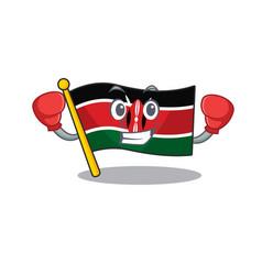 Flag kenya boxing cartoon with character happy vector