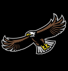 flying bald eagle mascot vector image