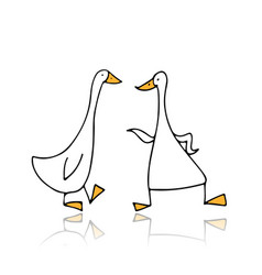 funny gooses sketch for your design vector image