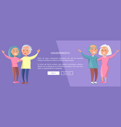 grandparents poster senior couples waving hands vector image