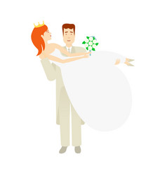 groom carrying bride holding in his arms vector image