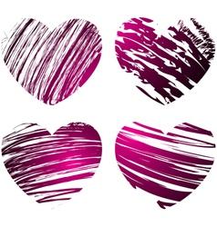 grunge hearts 1 vector image