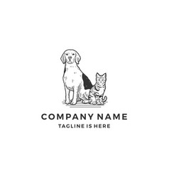 hand drawn sitting dog cat logo icon template vector image
