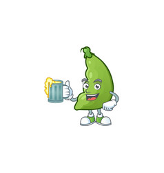 Happy face broad beans with a glass beer vector