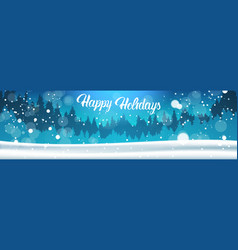 Happy holidays banner background winter forest vector