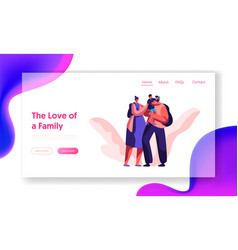 Happy loving family together landing page parent vector