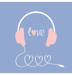 Headphones and cord in shape three hearts word vector
