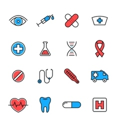 Healthcare medical line icons vector