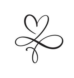 Heart love sign forever logo design flourish vector