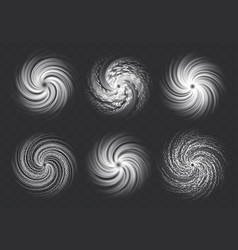 Hurricane swirls set isolated on a transparent vector