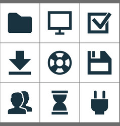 interface icons set with task hourglass plug and vector image