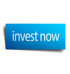 Invest now blue paper sign on white background vector
