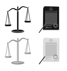 Isolated object law and lawyer logo set law vector
